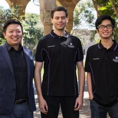 UQ's Chair and Director of Cyber Security Professor Ryan Ko with students Tim Kallioinen and Haoxi Tan